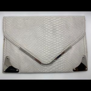 BCBG White Faux Snake Skin Clutch Bag